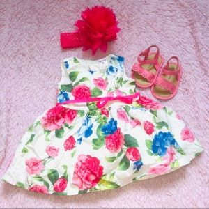 Other - White & Pink Floral Sleeveless Dress (0-3 months)